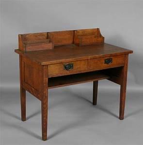 gustav stickley arts crafts mission oak two drawer With antique letter writing desk