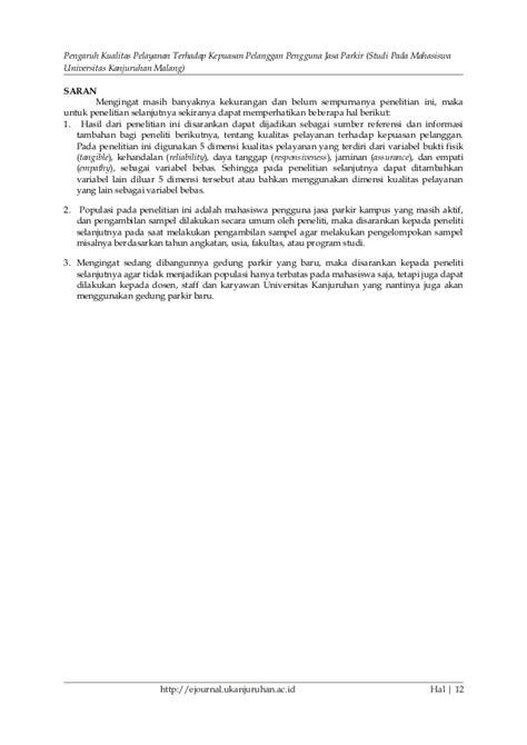 Jurnal pengaruh kualitas pelayanan terhadap kepuasan