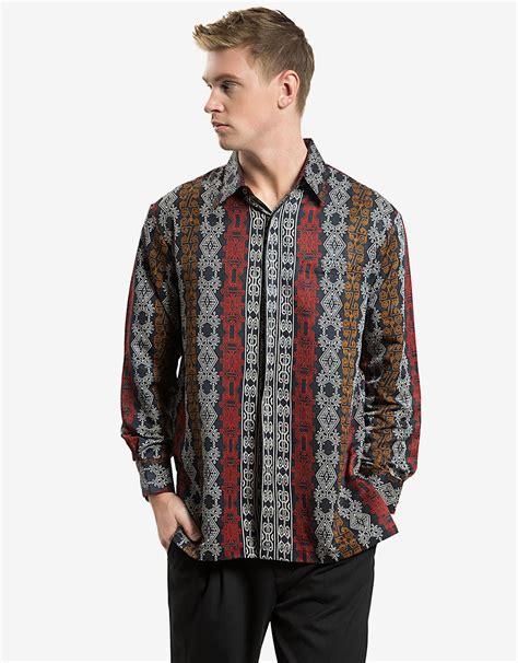 Kemeja Batik Hitam Cahyo Merah karunia batik kemeja lengan panjang motif ceplok anyam