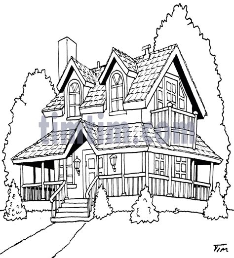 drawing  american house bw   category home