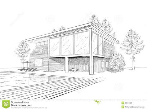 croquis de vecteur de maison moderne avec la piscine illustration de vecteur image 26613320
