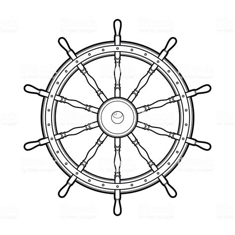 Boat Wheel Outline by Graphic Marine Steering Wheel Stock Vector Art More