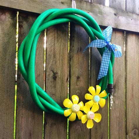 Recycled Garden Hose Wreath By Daynadecor On Etsy Crafty