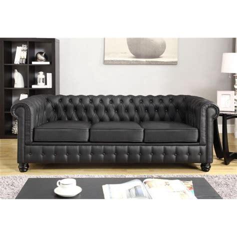 chesterfield canap 233 en cro 251 te de cuir et simili 3 places noir vintage l 213 x p 88 cm