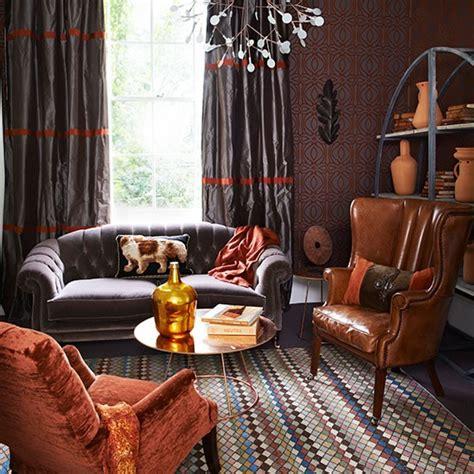 rich taupe  burnt orange living room living room
