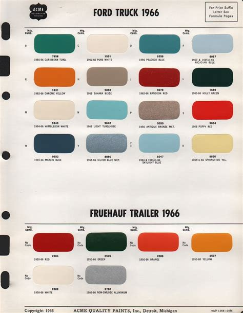 1966 ford paint colors