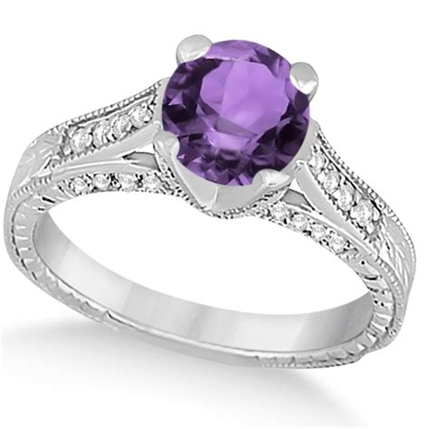 Diamond & Amethyst Antique Engagement Ring 14k White Gold