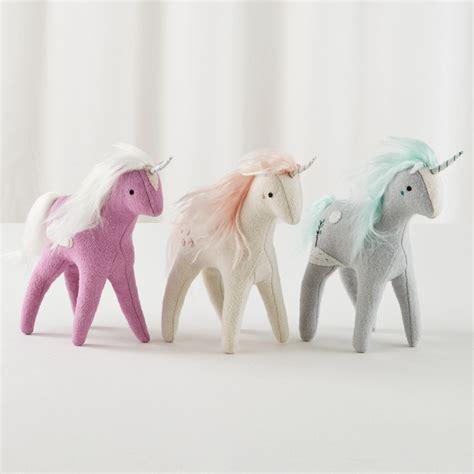 stuffed unicorn toy grey  land  nod