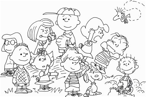 Peanuts Characters Thanksgiving Coloring Pages