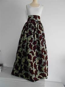 jupe longue en wax pagne africain jupe par la grace With robe longue africaine