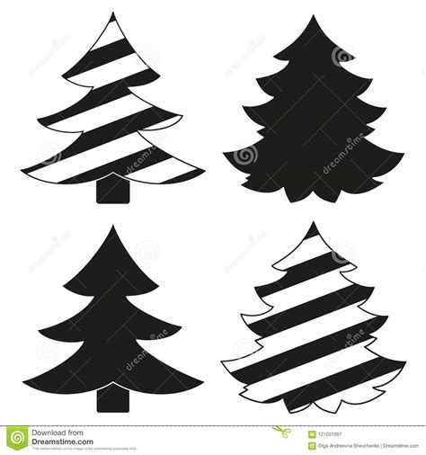 silueta de árbol de navidad sistema blanco y negro de la silueta 225 rbol de navidad ilustraci 243 n vector ilustraci 243 n