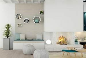 decoration salon blanc bois With tapis de course avec renovation canape cuir lyon