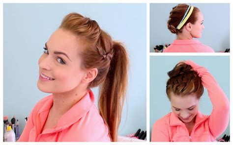 3 Workout Ready Hairstyles   DIY Headband   YouTube