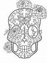 Skull Coloring Sugar Adult Halloween Flowers Printable Sheets Rocks Mandala Coloringhome sketch template