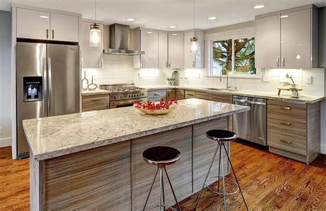 grey wood grain flat panel pius kitchen bath