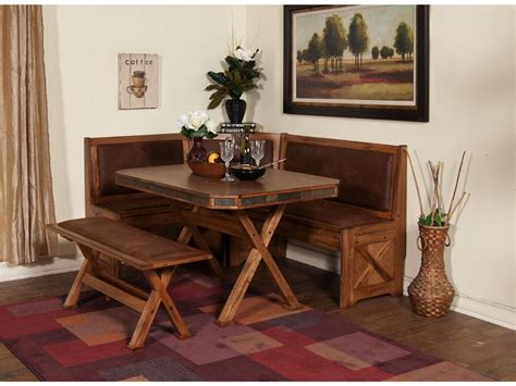 small rustic breakfast nook table with cross x legs bench