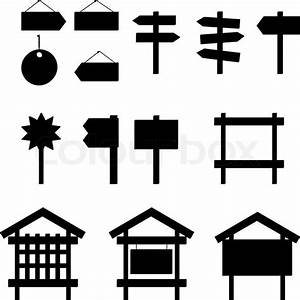 Billboards and signs, silhouette, set Stock Vector