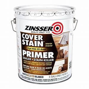Zinsser 5 gal cover stain high hide white oil base for Oil based floor stain