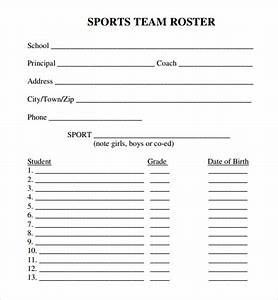 Sample sports roster template 7 free documents download for Sports team roster template