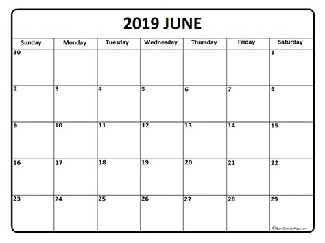 Blank Calendar Month Of June 2019
