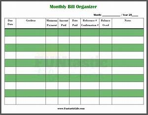 excel monthly bill payment template monthly bill With free bill paying organizer template