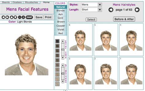 mens virtual hairstyle makeovers  tool