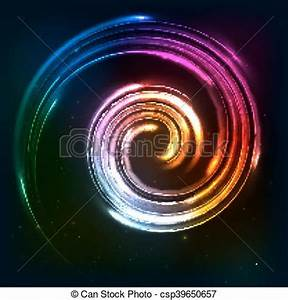 Clipart Vector of Rainbow colors shining neon lights twirl