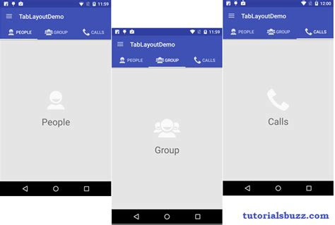 how to tabs on android phone android material design tablayout with icon tutorialsbuzz