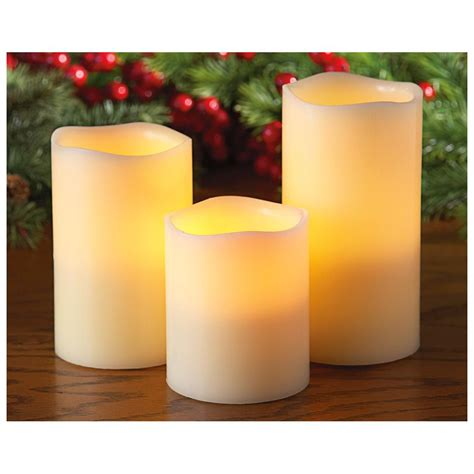 3 pc led wax pillar candle set with remote 422092