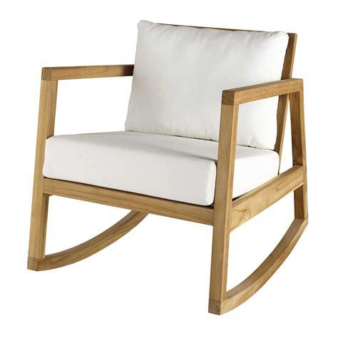 siege bascule fauteuil à bascule en teck et tissu blanc alpin maisons