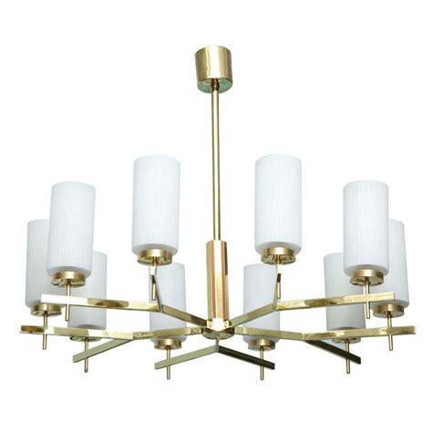 Modern Brass Chandelier by Italian Modern Brass And Glass Ten Light Chandelier