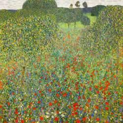 Campo di papaveri olio su tela di Gustav Klimt