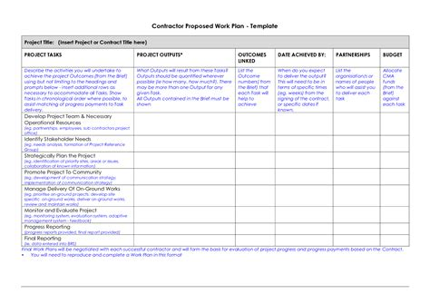 Work Plan Template Work Plan Template Microsoft Office