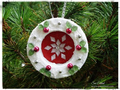 Frosted Holly Wreath Diy Christmas Ornament