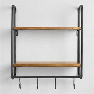 Metal and wood skyler 2 shelf wall storage world market for Kitchen cabinets lowes with hanging heavy wall art