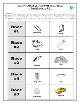 of gravity worksheet gravity unit and worksheets kindergarten kindergarten