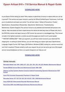 Epson Artisan 810 710 Service Manual Repair G By