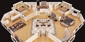 3d, Floor, Plan, Of, Luxury, House, Ground, Floor