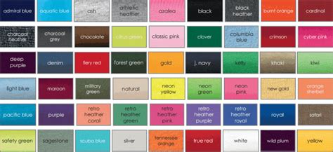 tshirts   color selections