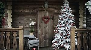 Sapin Floqué Blanc : decoration de noel rouge et blanc sapin de no l traditionnel ~ Melissatoandfro.com Idées de Décoration