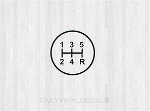 5 Speed Gear Shift Decal - 5 Speed Diagram