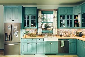 5 easy ways to update your kitchen With best brand of paint for kitchen cabinets with wall art teal