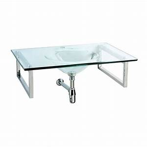 Plan vasque simple en verre design achat vente lavabo for Salle de bain design avec vasque en verre castorama