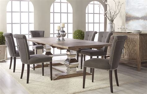 manor gray wash extendable dining room set  luxe
