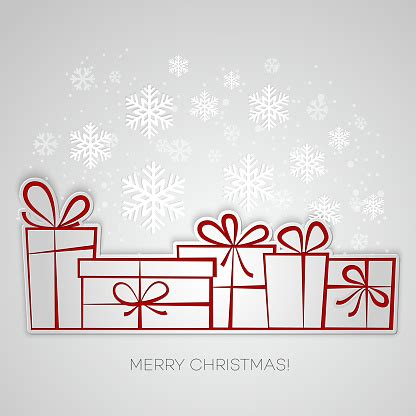 Merry Christmas Gift Greeting Card Paper Design Stock