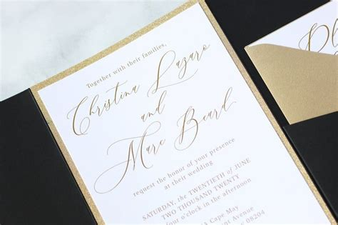 Black and Gold Wedding Pocket Invitations with Real
