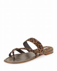 Manolo Blahnik Susa Flat Suede Thong Sandal Leopard Print ...