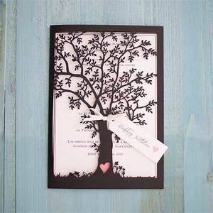 Vintage style lasercut black tree invitation vintage for Laser cut wedding invitations tree uk