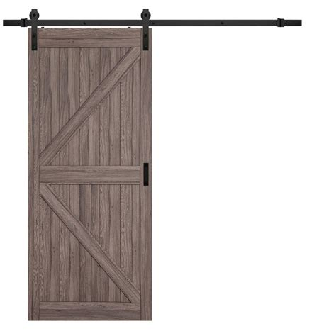 Rustic Sliding Barn Doors by Truporte 36 In X 84 In Taupe Mdf K Design Rustic Sliding