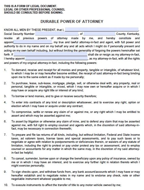 free kentucky medical power of attorney form pdf template